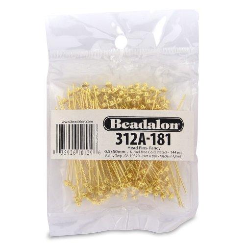 Beadalon 144-Piece 2-Inch Fancy Head Pin, Nickel Free Gold Plate