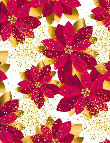 (Dotted Grid: Xmas luxury gold poinsettia decorative flowers SeamlessBlank Recipe Cookbook for Writing Recipes 100 pages (8.5
