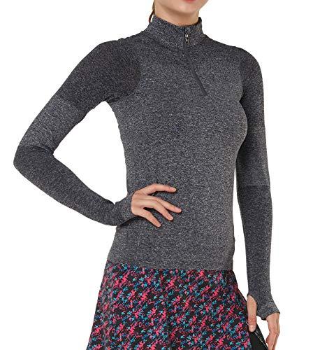 Women Long Sleeve Running Shirts with Thumb Holes Track Jackets Yoga Tops Performance Grey XS