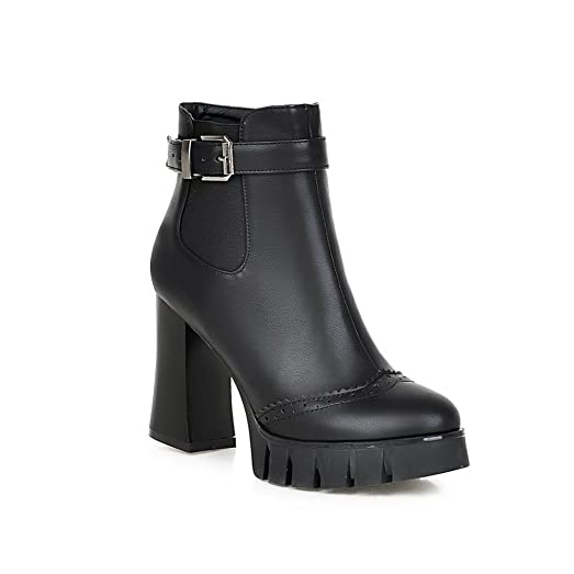 Girls Buckle Chunky Heels Imitated Leather Boots