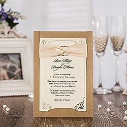 50PCS Wedding Invitations Jofanza Laser Cut Wedding Invitations Ribbon Set of 50pcs Invitation Cards with Kraft Insert for Engagement Baby Shower Birthday Quinceanera (CW6181)