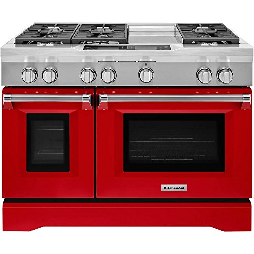 (KitchenAid KDRS483VSD 6.3 Cu. Ft. Freestanding Double Oven Dual Fuel Convection Range - Signature Red)