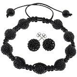 Gem Stone King Black Pave Disco Ball Beads Hip Hop Style Adjustable Bracelet and Earrings Set