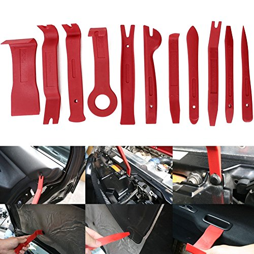 Gigamax(TM) 11Pcs Auto Car Radio Panel Interior Door Clip Panel Pry Tool Trim Dashboard Removal Opening Tool Set Diy Car Repair Tool Pry Kit [ Red ] by GigaMax (Image #4)'