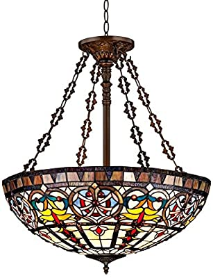 New Legend Tiffany Style Stained Glass Large Hanging Lamp Ceiling Fixture TL16017, 24-Inch wide