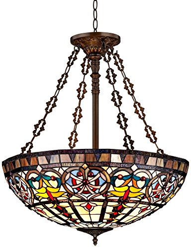 New Legend Tiffany Style Stained Glass Large Hanging Lamp Ceiling Fixture TL16017, 24-Inch wide - New Style Light