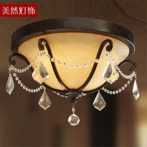 Lilamins American Ceiling Light Iron Lamps Crystal Lamp Light American Retro Deluxe Continental Ceiling Lighting For Bathroom, Kitchen, Hallway, Office, Corridor,465H300Mm Ceiling (Brass Deluxe Ceiling Fan)