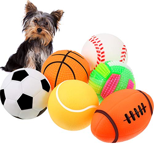 6 Pieces Pet Toy Balls Squeaky Light Balls Non-Toxic Chewing Bounce Toys Balls for Puppy Small Medium Dogs Pet