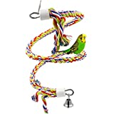 Rusee Rope Bungee Bird Toy, Small or Medium-Sized Parrot Toy Pure Natural Colorful Bead Cage Parrot Chewing Toy Larger Image