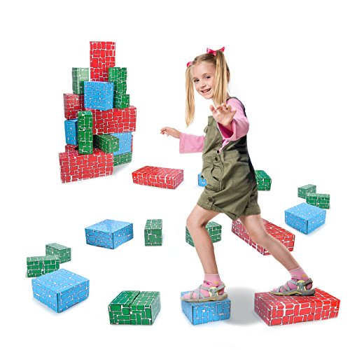 EXERCISE N PLAY Cardboard Blocks,40pcs Building Blocks Extra-Thick Jumbo Stackable Bricks in 3 Size for -