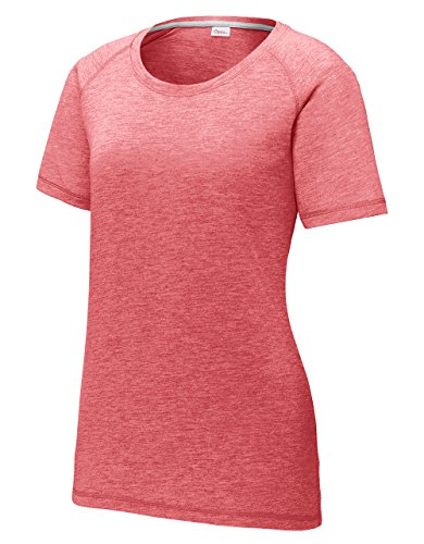 (Opna Women's Short Sleeve Tee Shirts Scoop Neck Tri Blend Workout Running Yoga Red Heather)