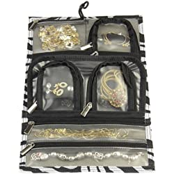 Household Essentials Tri-Fold Travel Jewelry Organizer, Zebra Print