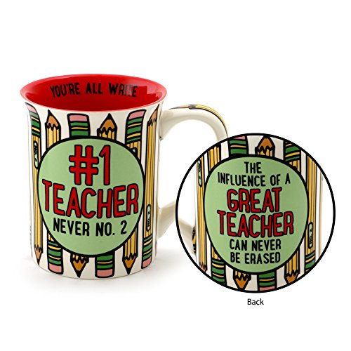 "1 Cup Mug (Our Name is Mud ""#1 Teacher"" Stoneware Coffee Mug, 16 oz.)"
