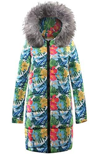 EKU Women Print Long Sleeve Hooded Down Midi Long Plus Size Jacket Gery