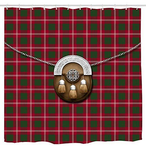 Goloingm Clan Crawford Tartan and Sporran Shower Curtain,Sketch Design Art, Waterproof Polyester Fabric Decorative Bathroom Bath Curtains 6072 ()