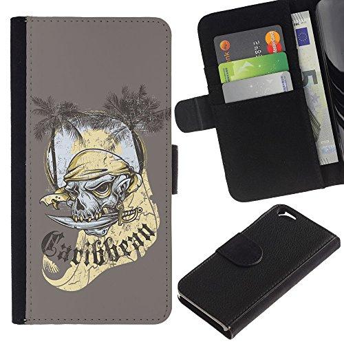 EuroCase - Apple Iphone 6 4.7 - The Carribean Pirate Skull Ghost - Cuir PU Coverture Shell Armure Coque Coq Cas Etui Housse Case Cover