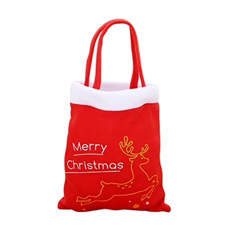 Hankyky Christmas Tree Deer Pattern Bags Santa Claus Red Candy Bag Handbag  Home Party Decoration Gift Bag Supplies  Amazon.co.uk  Kitchen   Home 097e6517227fd