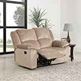 DIVANO ROMA FURNITURE Oversize Traditional Classic Living Room Microfiber Double Recliner Loveseat (Beige)