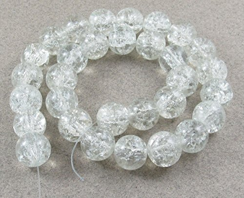 Round Glass Crackle Beads-CRYSTAL CLEAR 10mm (30)