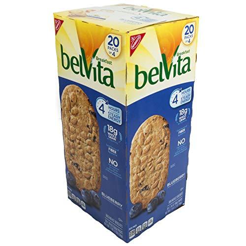 Belvita Breakfast Biscuit, Blueberry,Family Size 1 Pakk ( 20 Packs of 4 , 1.76 oz Each )