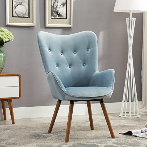roundhill furniture doarnin silky velvet tufted button back accent chair blue