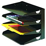 MMF Industries 4-Tier Letter-Size Horizontal Steel Desk Organizer, Black (264R4HBK)