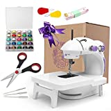 Mini Speed Sewing Machine,with Extension Table 201 Upgrade Version Portable Sewing Machine Mending Machine Double-Thread and Auto Needle Threader Foot Pedal Lamp Thread Cutter Electric Household Tool