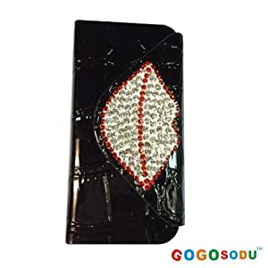 GOGOSODU(TM) Handmade Crystal Luxury Diamond Lip Pattern Wallet Leather Protector Case for Iphone 5 5s Colors-Black