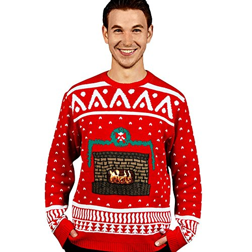 Digital Dudz Crackling Fireplace Digital Christmas Sweater - size Medium ()