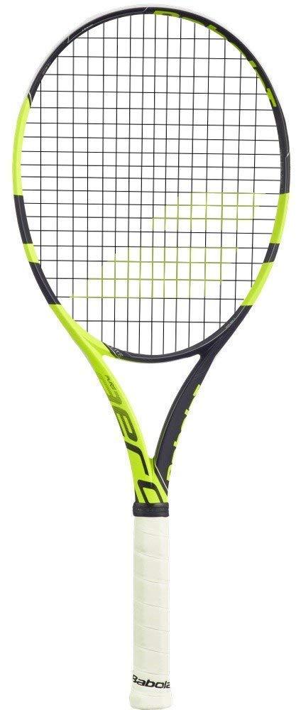 Babolat Pure Aero Lite Black/Yellow Tennis Racquet (4'' Inch Grip) Strung SG Spiraltek Black Tennis String (Best Racket for Spin)