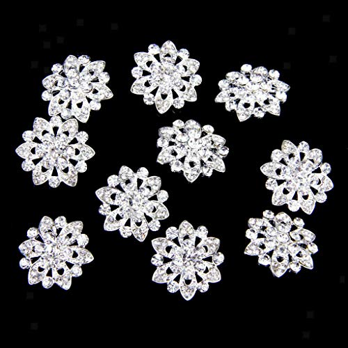10x Crystal Rhinestone Flower Shank Buttons for DIY Brooch Sewing Craft 22mm