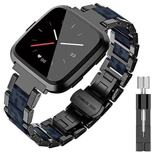 (TOYOUTHS Stylish Bracelet Compatible with Fitbit Versa Bands for Women Men Metal Resin Wristbands Replacement for Fitbit Versa Lite SE Accessories Strap Watch Band Black+Dark Blue )