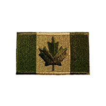"""Canadian Flag Patch Adhesive Sew-On OD Olive Drab Green 4"""" x 2"""""""