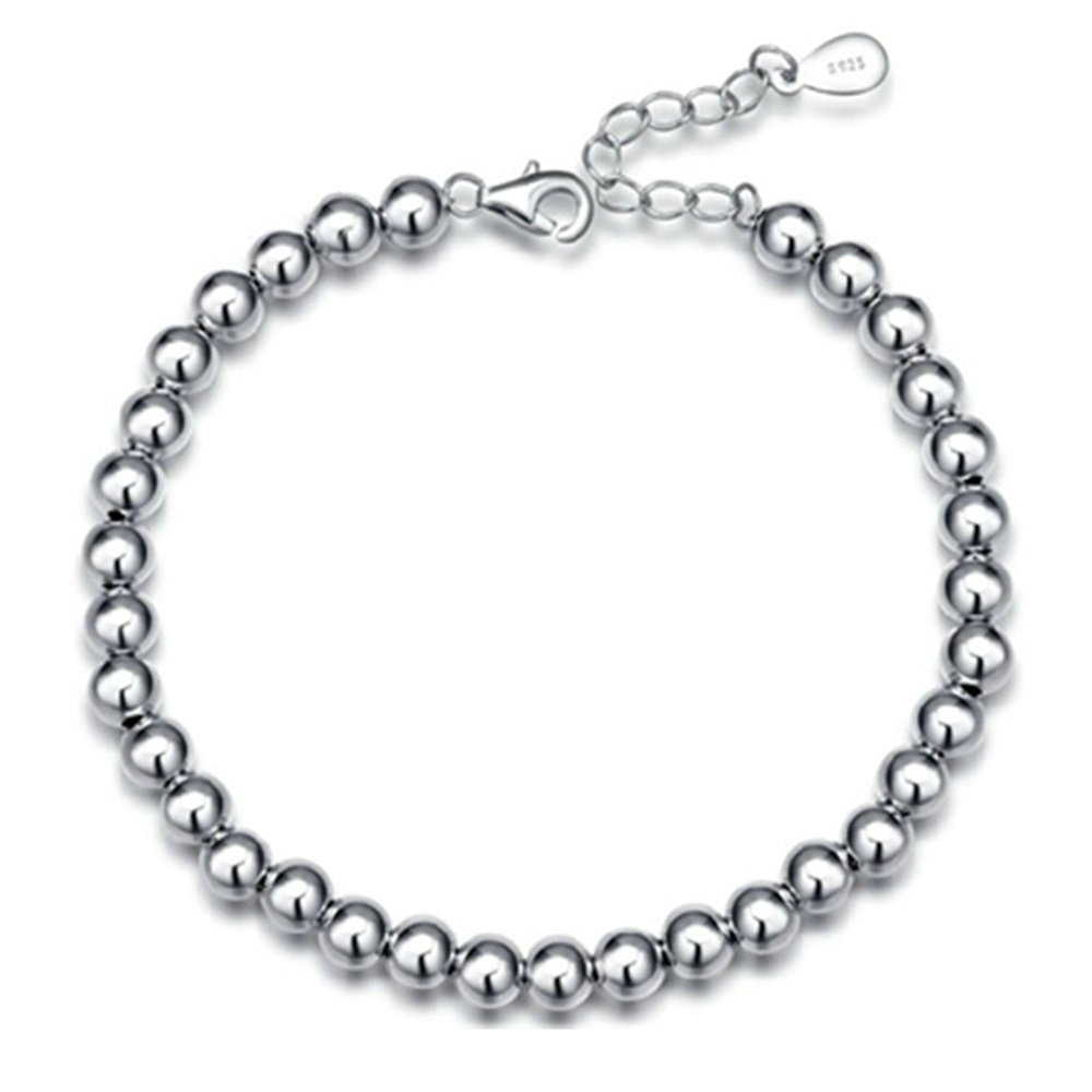Onefeart 925 Sterling Silver Bracelet For Women Girl Smooth Buddha Beads Chinese Style Anti Allergy Gift NEWAten026