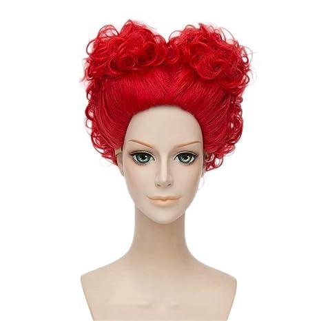 NiceLisa Masquerade Peluca de fiesta de noche Cosplay Cortos Corazones Rojo Mujer Anime rol Play Pelucas