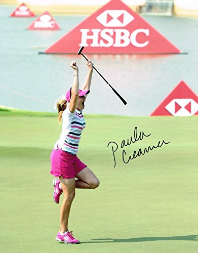 Signed Paula Creamer Photo   11X14 Hsbc 70 Foot Winning Putt Coa A   Autographed Golf Photos