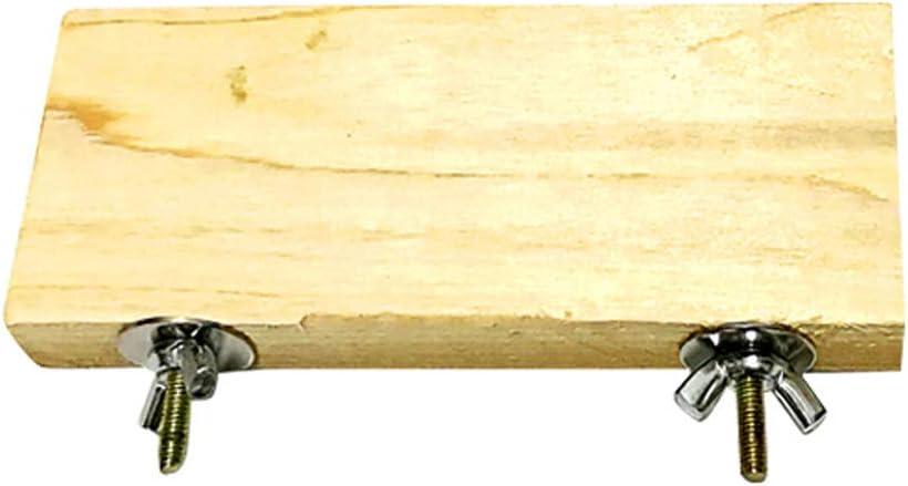 Henreal Soporte de Madera Plataforma de Juguete Pata de molienda Accesorios de Jaula Limpia para Loro Hamster
