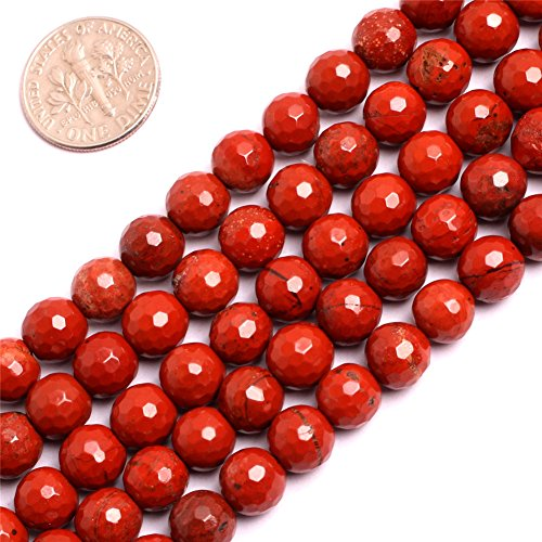 Red Jasper 8mm Round Beads (Round Faceted Red Jasper Gemstone Loose Beads for Jewelry Making Handmade DIY One Strand 15