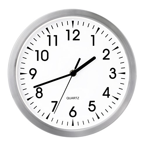 Egundo 10 Inch Silent Metal Wall Clock,Small Round Non-ticking Quartz Movement Battery Operated Analog Classic Hanging Clocks Decor for Living Room Office Bedroom Kitchen Kids Study Room(Silver&White)