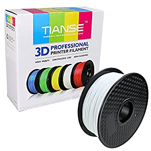 TIANSE White PLA 3D Printer Filament, 1 kg Spool, 1.75 mm, Dimensional Accuracy +/- 0.03 mm from TIANSE