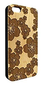 Genuine Maple Wood Organic Floral Pattern Snap-On Cover Hard Case for iPhone 6