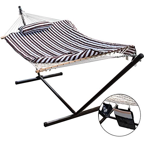 (Lazy Daze Hammocks 12 Feet Space Saving Steel Hammock Stand with Cotton Rope Hammock Combo, Includes Quilted Polyester Hammock Pad, Pillow, Mag Bag and Cup Holder, Brown/White Stripe)