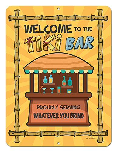 Honey Dew Gifts Welcome to The Tiki Bar, 9 x12 inch Novelty Tin Tiki Bar Decor and Signs, Tiki Decorations