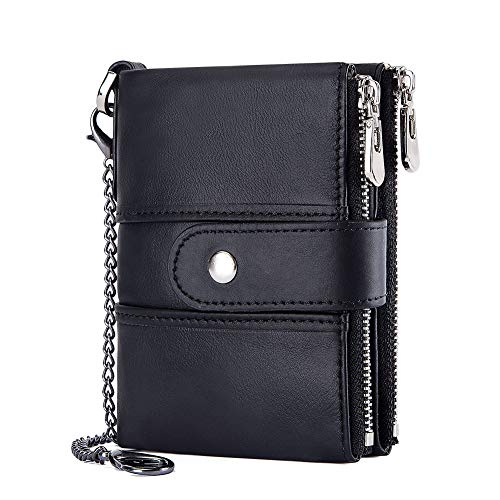 Cow Wallet Leather Handcrafted - Wallet Wallet Men's Wallet Men's with zipper Cow leather Stylish RFID Blocking Wallets Identity Card Credit Card Coin Pack Men's Leather Bifold Wallet (Black)