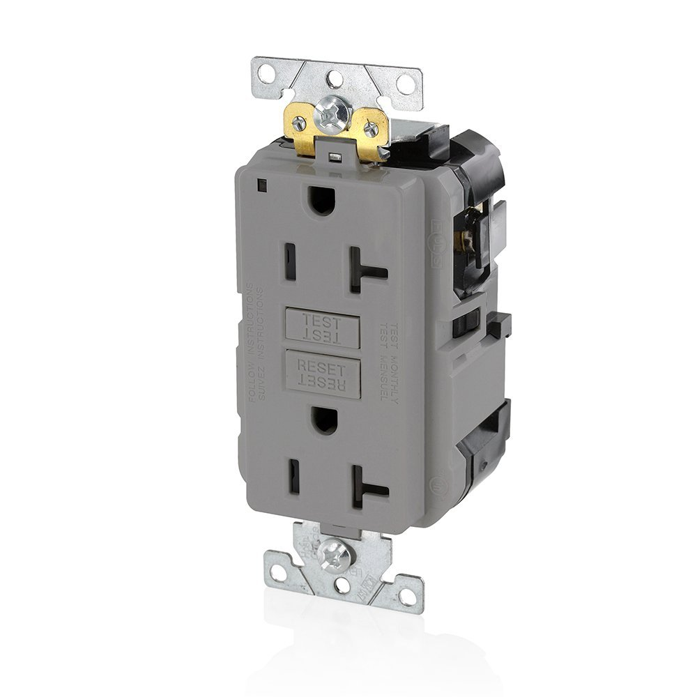 Leviton MGFN2-GY Lev-Lok Modular Wiring Device 20A-125V Extra-Heavy Duty Industrial Grade Non-Tamper-Resistant Duplex Self-Test GFCI Receptacle, Gray