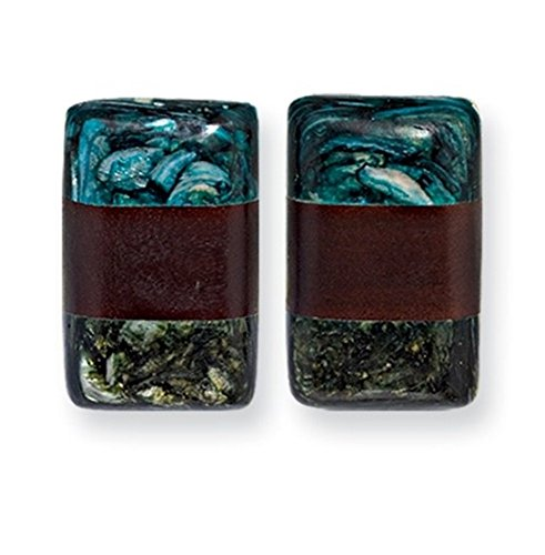 Tapak Wood & Green/Blue Broken Capiz 1.5in Rect. Clip-on Earrings