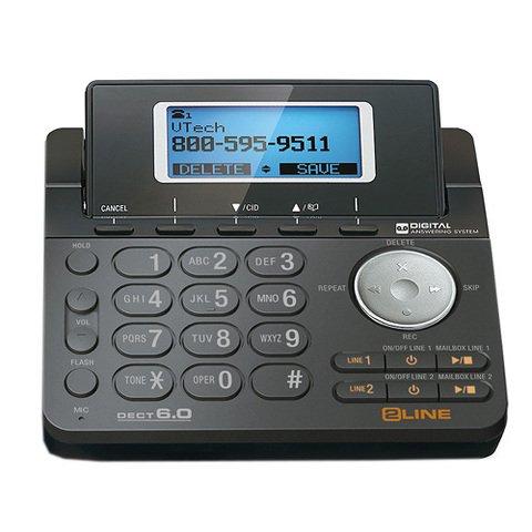 VTech DS6151-11 DECT 6.0 2-Line Expandable Cordless Phone + (4) DS6101-11 Accessory Handset, Black by VTech (Image #2)