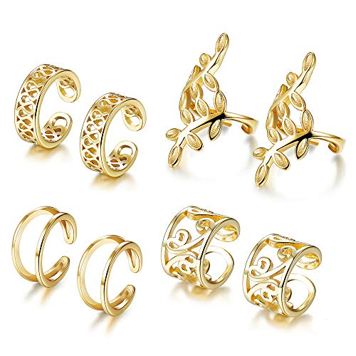 Tone Swirl Ring - JOERICA 4 Pairs Silver Ear Cuff Earrings for Women Girls Clip on Fake Lip Cartilage Tragus Helix Body Jewelry Set (C:Golden-tone)