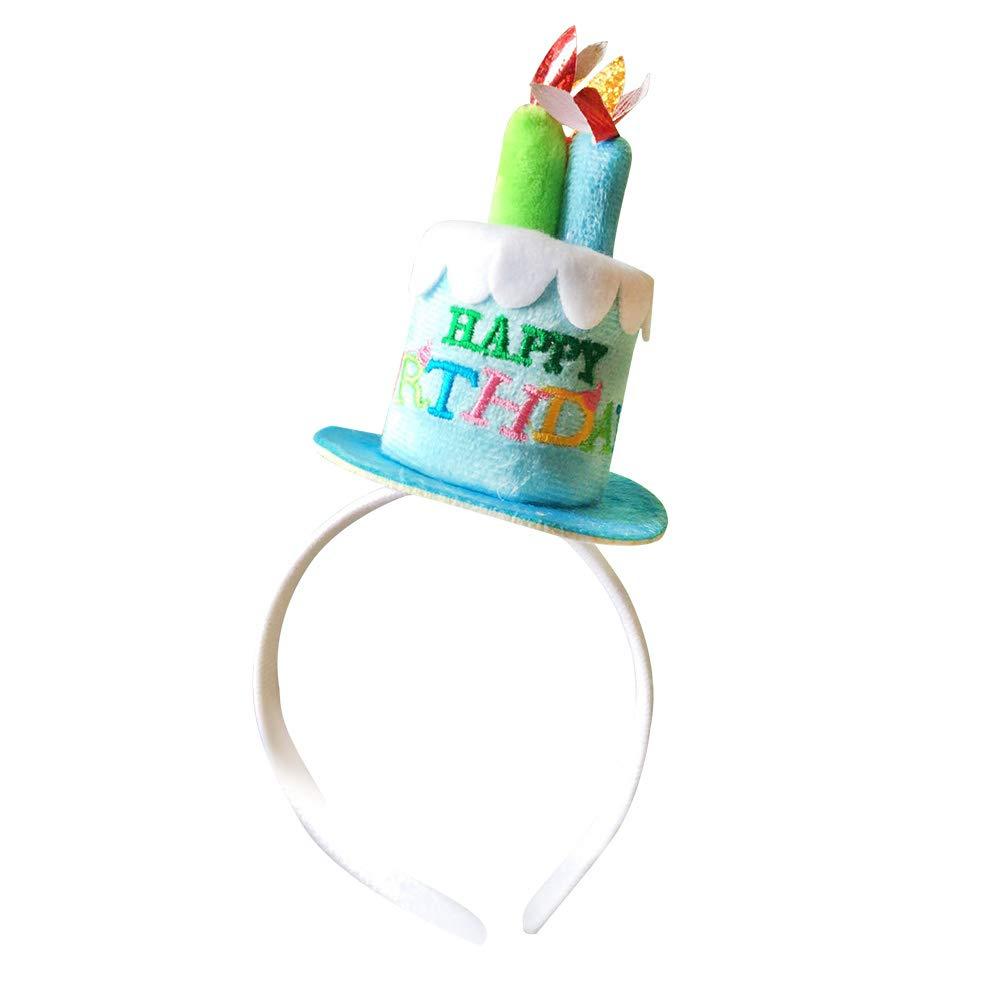 STOBOK Joyeux Anniversaire gâteau Bougies Bandeau Femmes Lady Filles Partie Bande de Cheveux Chapeau Fantaisie Robe Couvre-Chef Accessoire (Bleu)