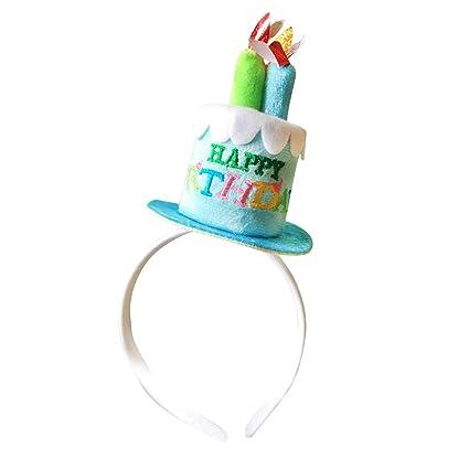 Amosfun Fiesta de cumpleaños Sombreros Feliz cumpleaños Pastel con Velas  Diadema Fiesta Banda de Pelo Accesorio 0d624f5091c